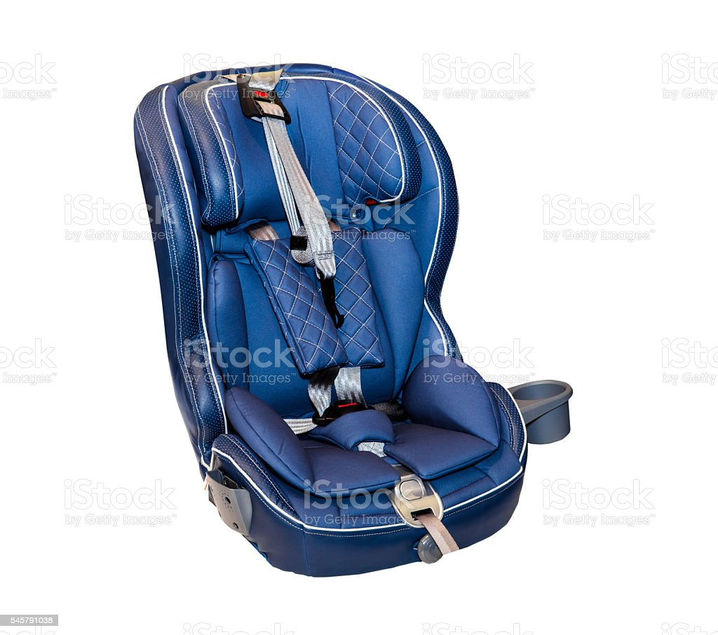 Blue baby auto car seat stock photo
