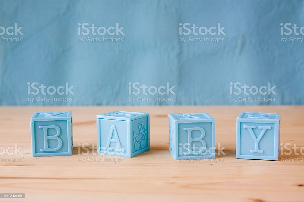 Blue Baby Blocks stock photo