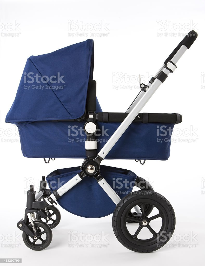 blue baby buggy stock photo