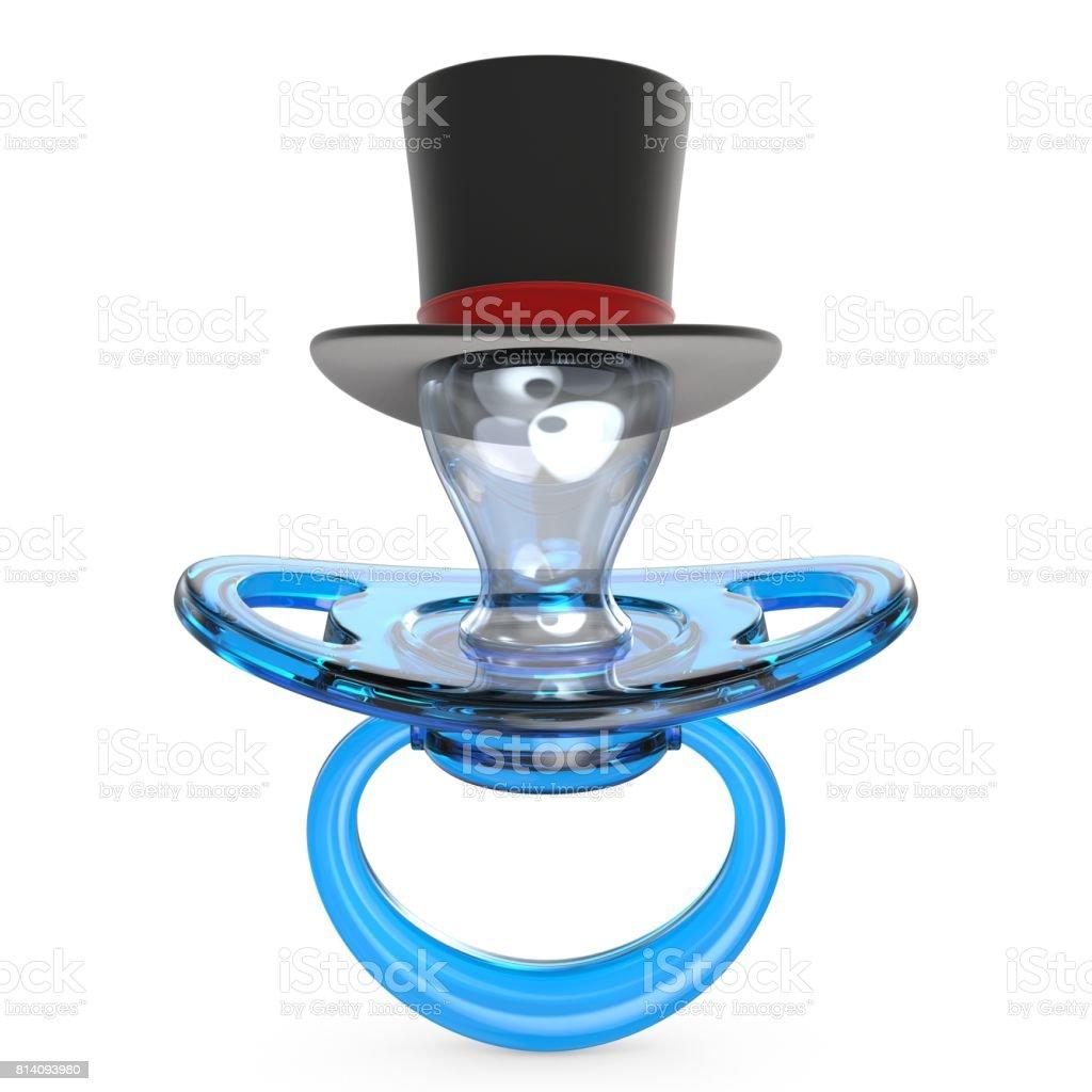 Blue baby pacifier with gentleman hat Baby BOY symbol 3D stock photo
