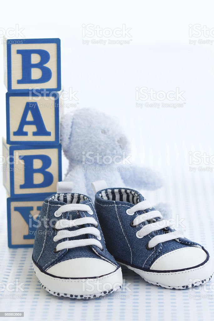Blue baby shoes royalty-free stock photo