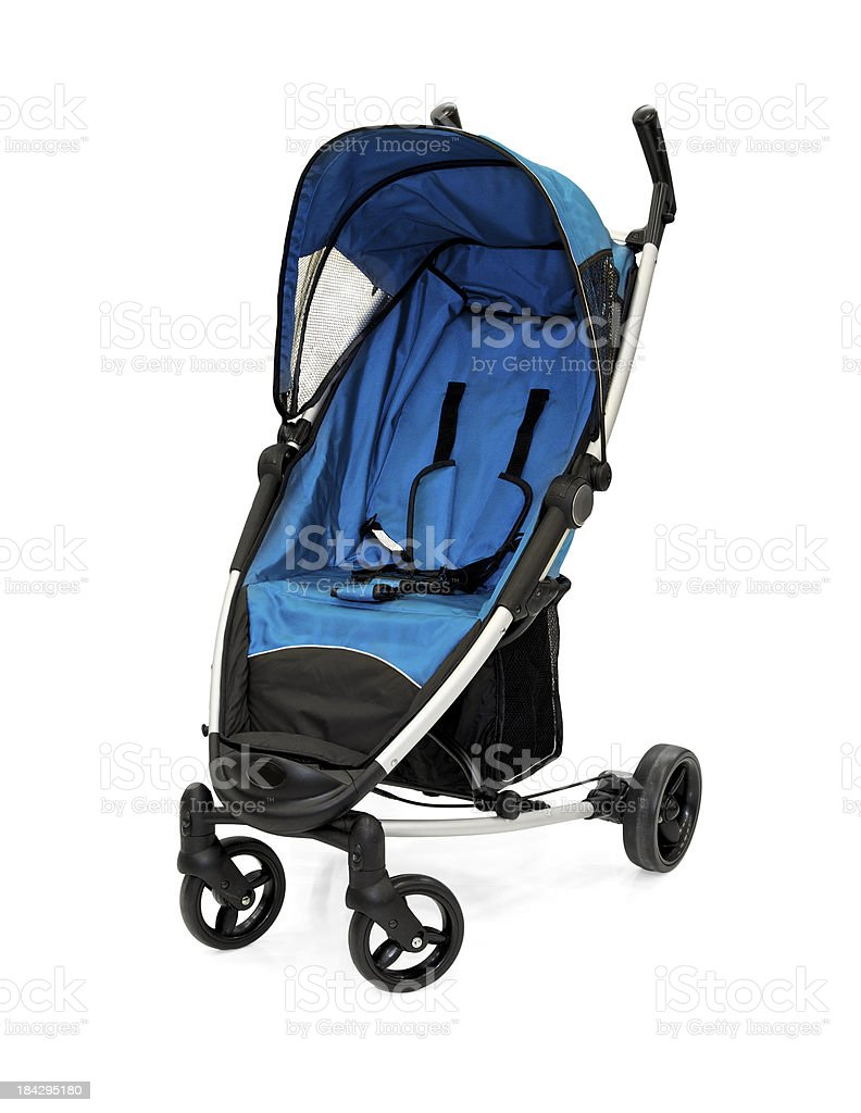 Blue Baby Strollers stock photo