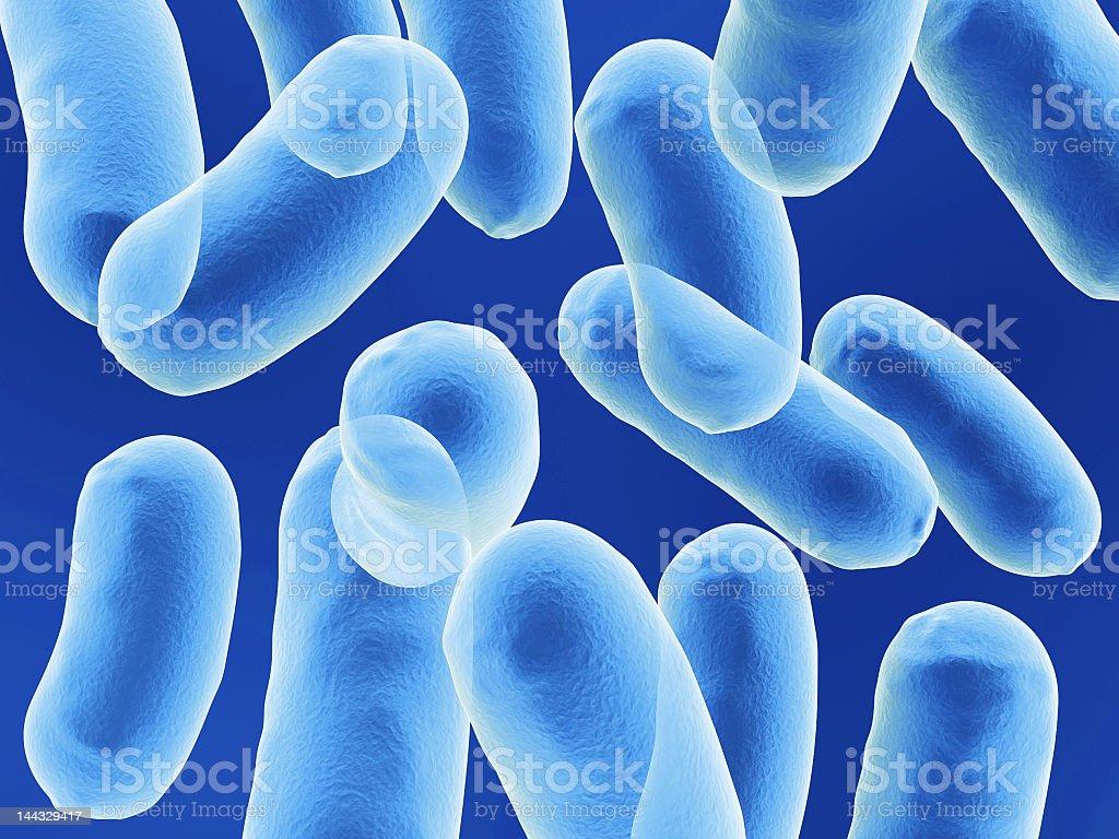 Blue bacillus bacteria on blue background royalty-free stock photo