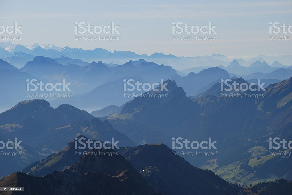 blue back light mountains stock photo
