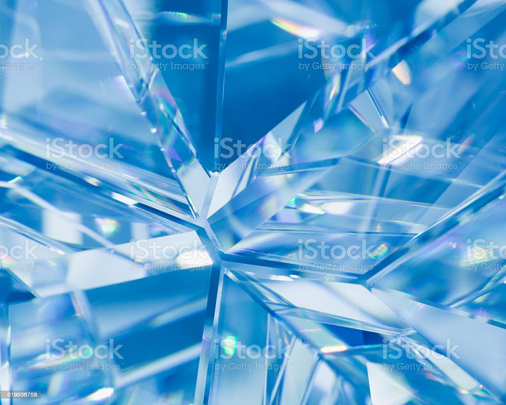 blue background of crystal refractions stock photo