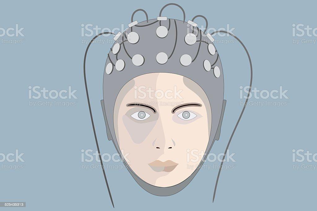 EEG, blue background stock photo