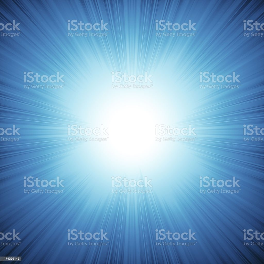 Blue background with bright rays come from inside royalty-free stock photo
