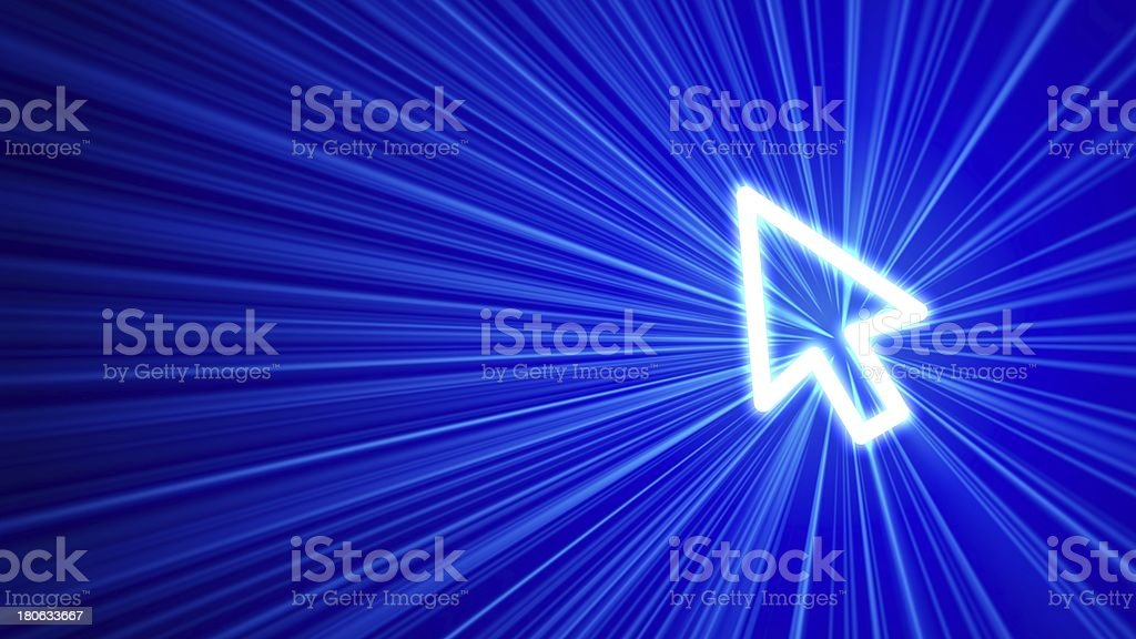 3D blue background with cursor icon stock photo