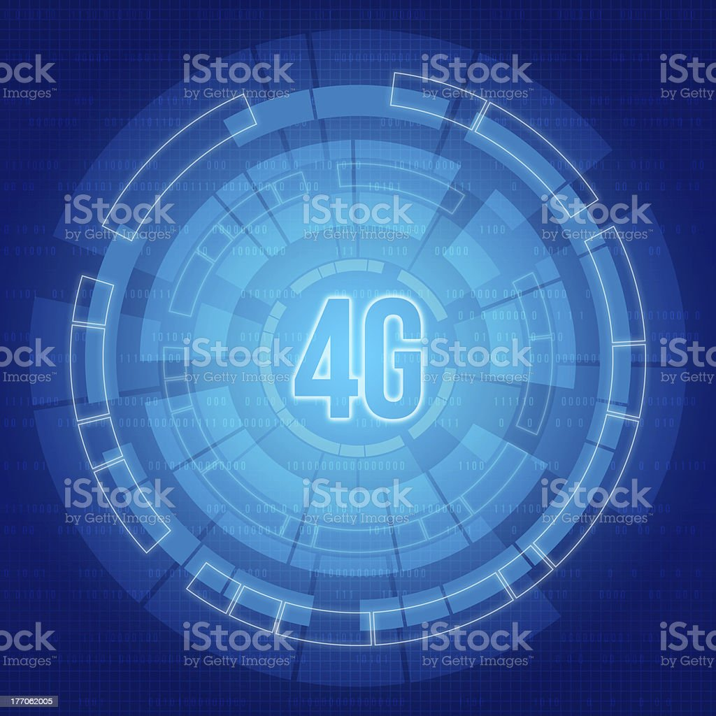 Blue background with the 4G digital elements of  communications royalty-free stock photo