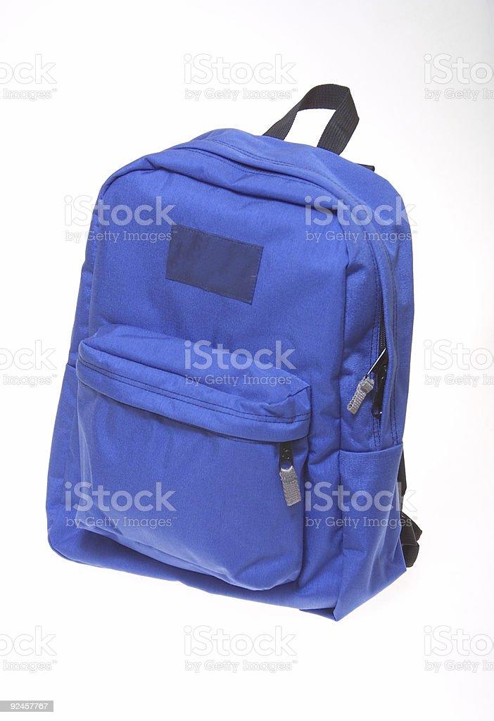 Blue backpack isolated on white background royalty-free stock photo