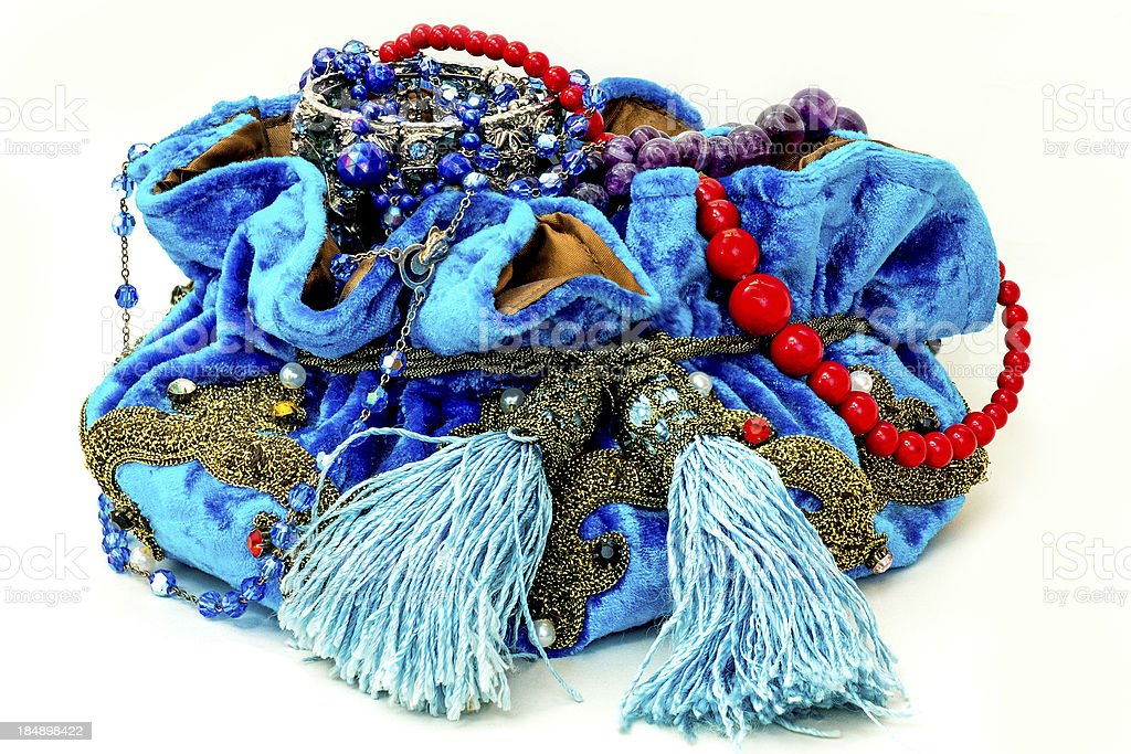 Blue bag of jewels. royalty-free stock photo
