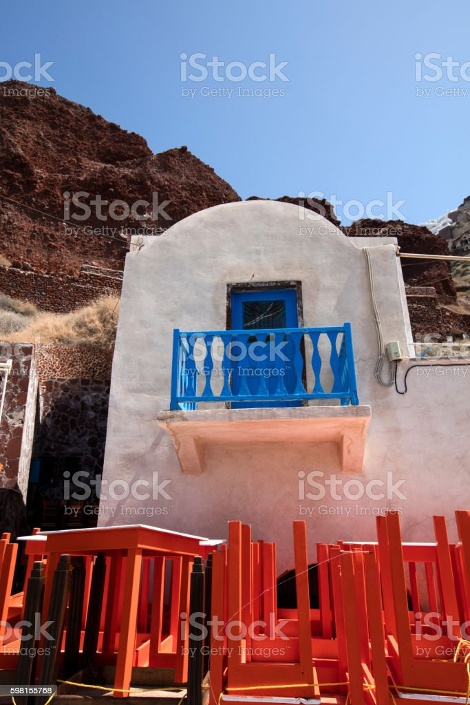 Blue balcony in Greece stock photo