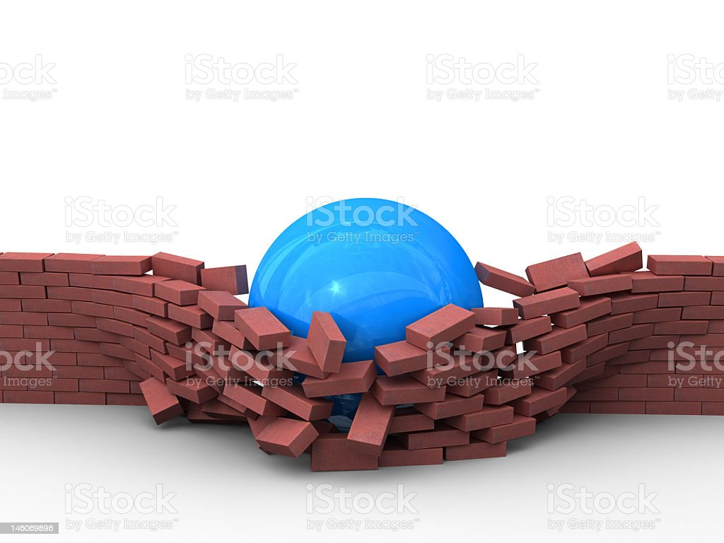 Blue ball breaking down a wall stock photo