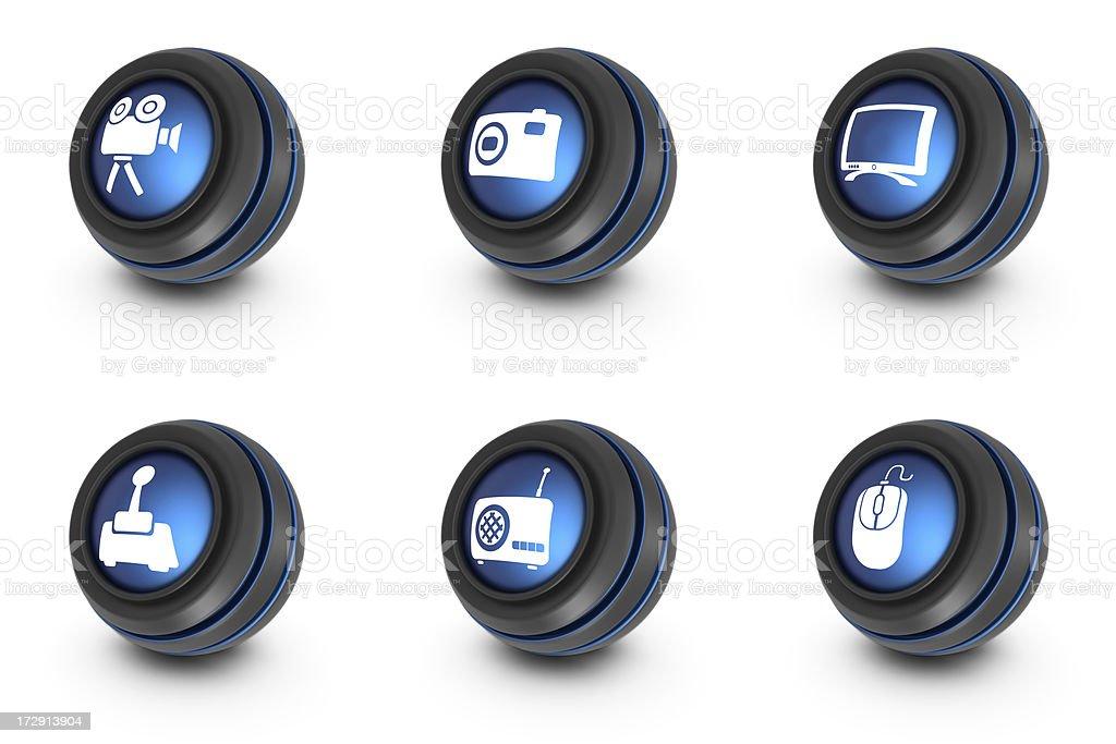 blue ball icons - multimedia royalty-free stock photo