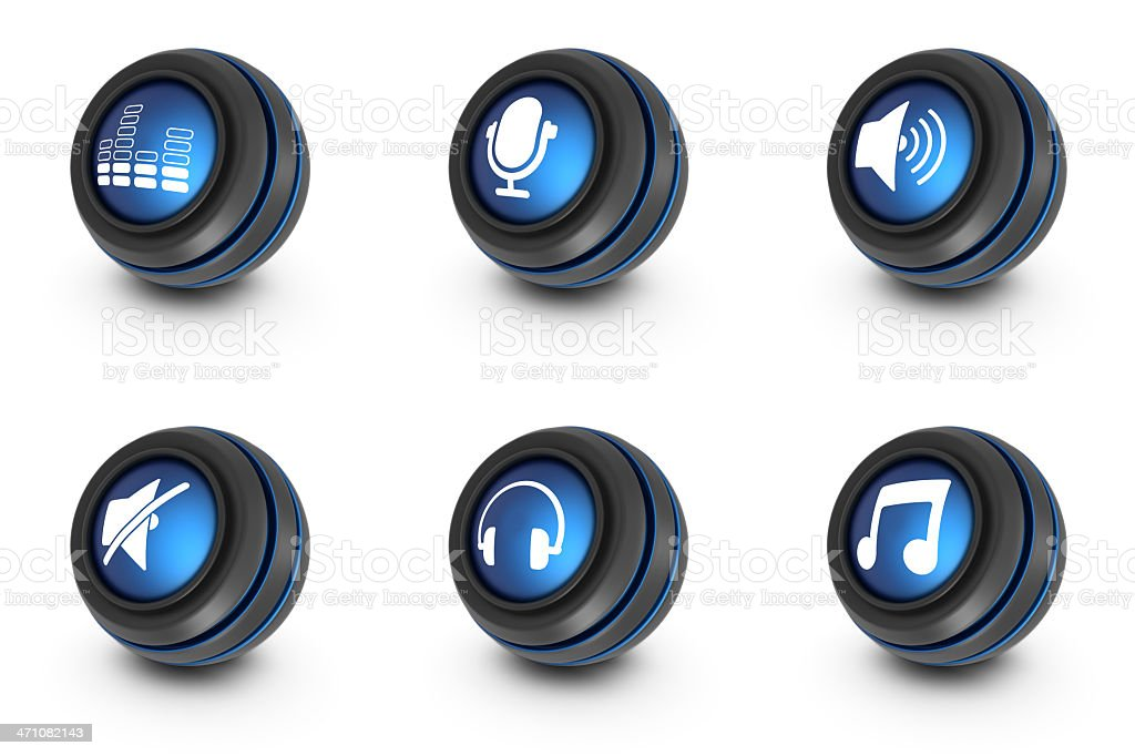 blue ball icons - music royalty-free stock photo