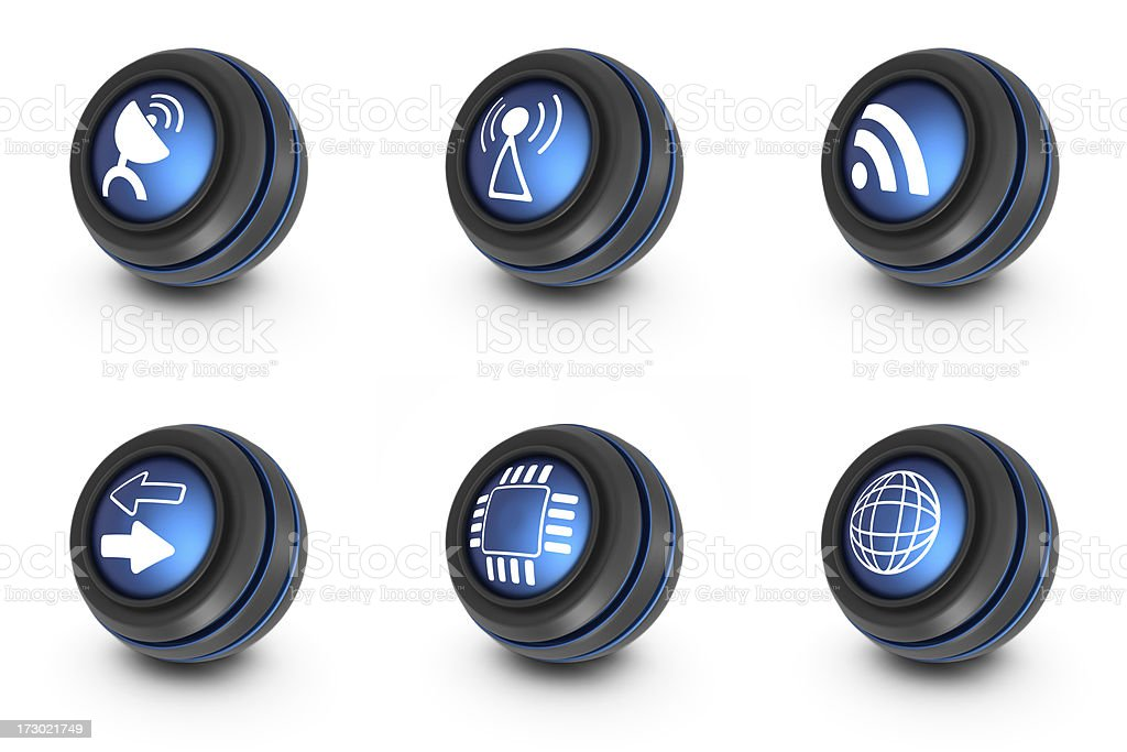 blue ball icons - network royalty-free stock photo