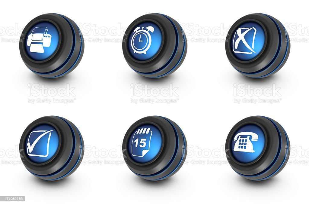 blue ball icons - office royalty-free stock photo