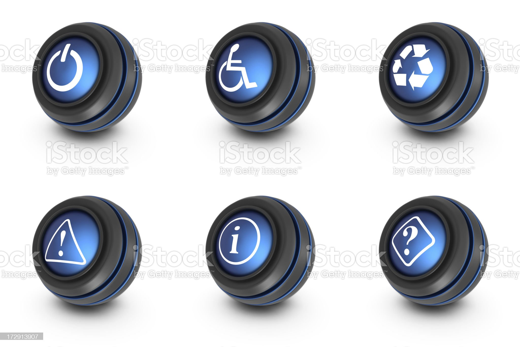 blue ball icons - signs royalty-free stock photo