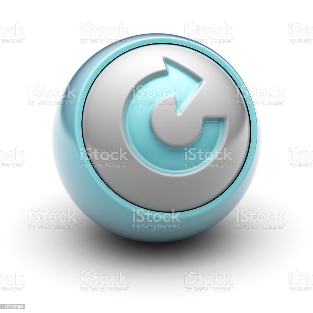 Blue ball representing reset button royalty-free stock photo