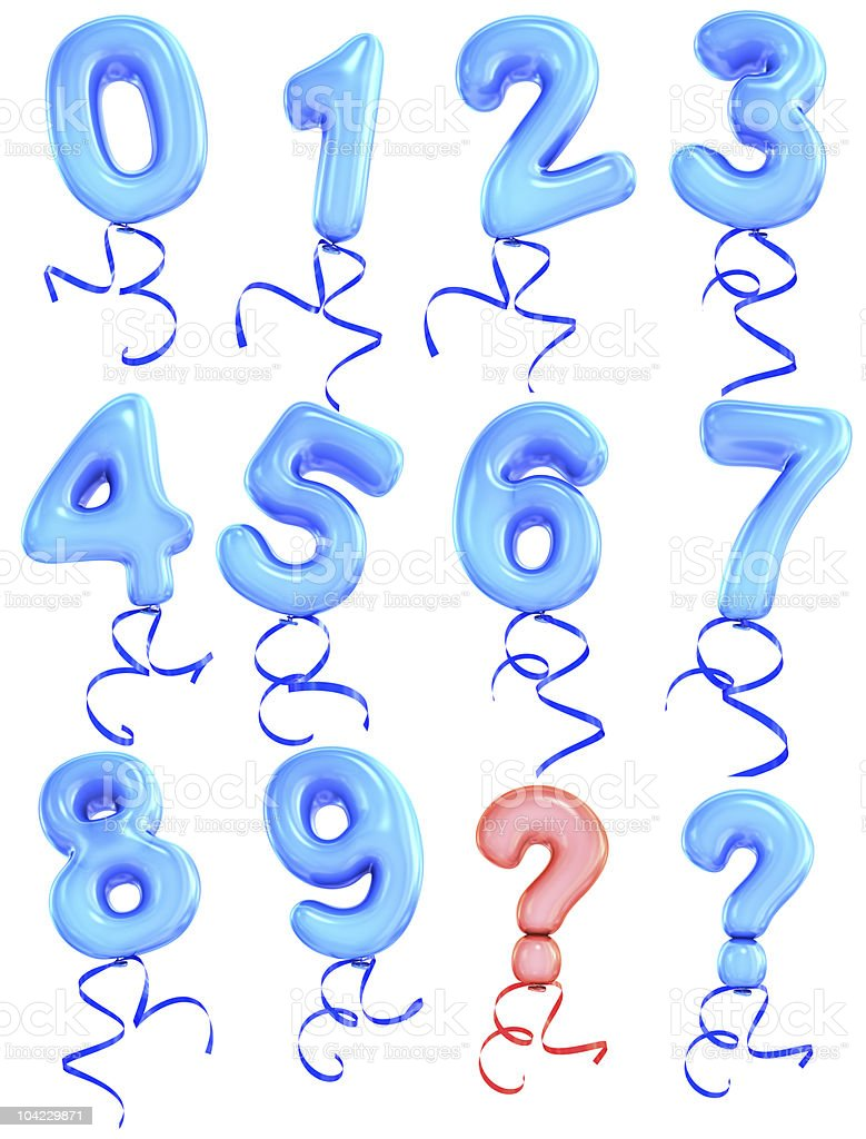 Blue balloon number font royalty-free stock photo