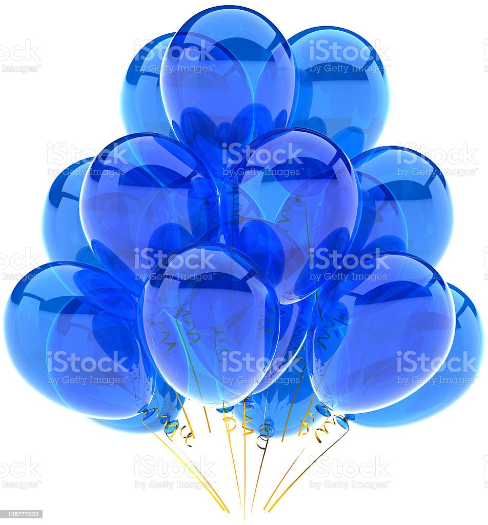 Blue balloons birthday party cyan decoration translucent classic royalty-free stock photo