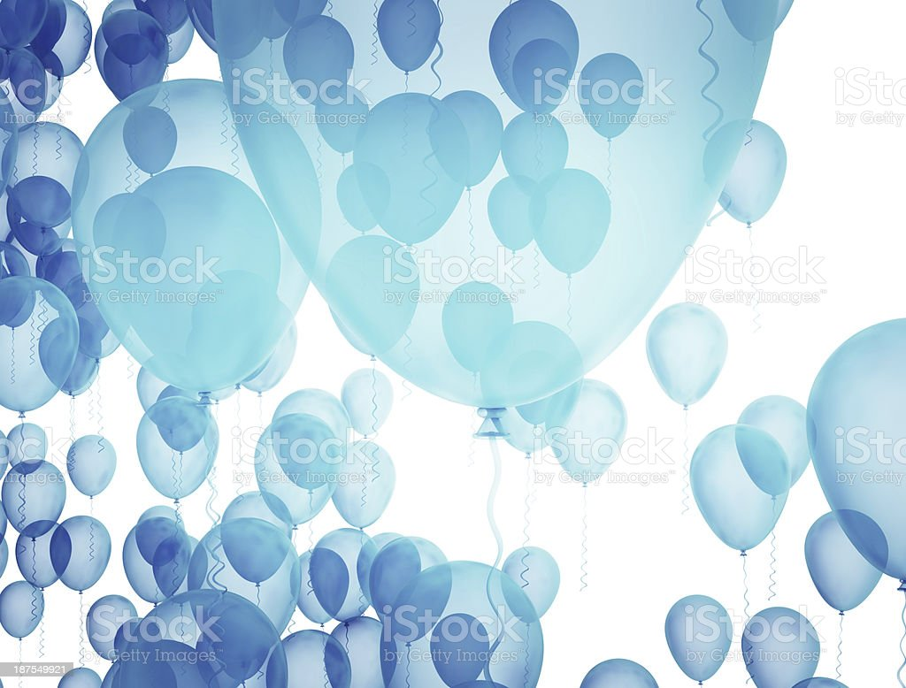 Blue balloons floating against white background stock photo