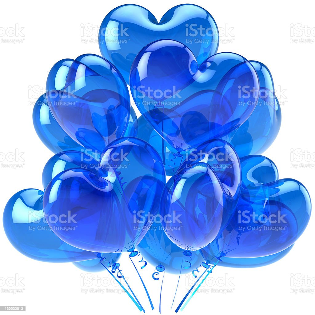 Blue balloons party decoration heart shaped royalty-free stock photo