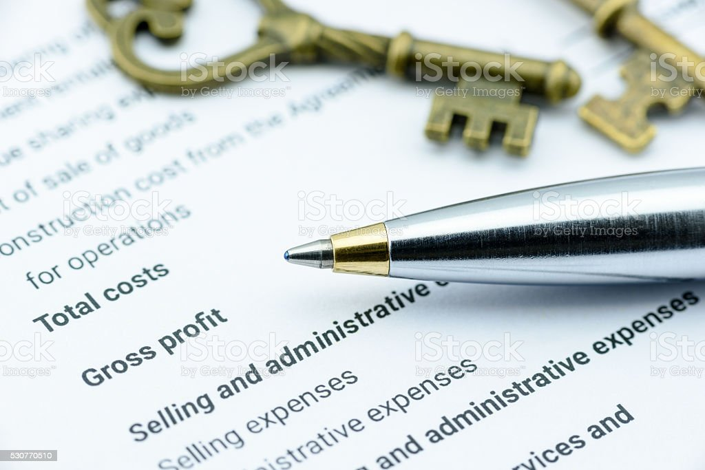 Blue ballpoint pen on an incorporation's income statement stock photo