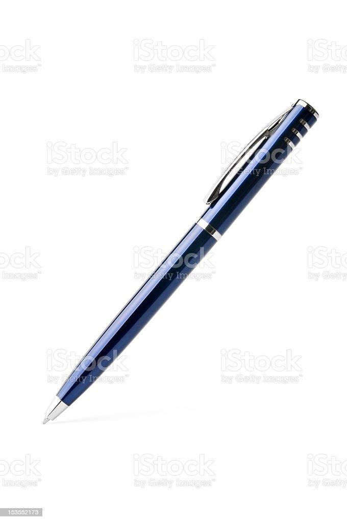 blue ballpoint pen stock photo
