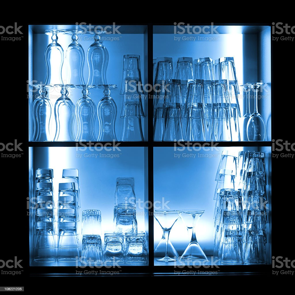 Blue Bar with glasses royalty-free stock photo