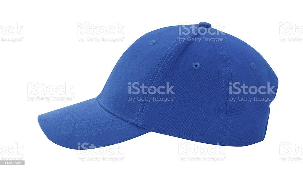 Blue Baseball Cap on White Background stock photo