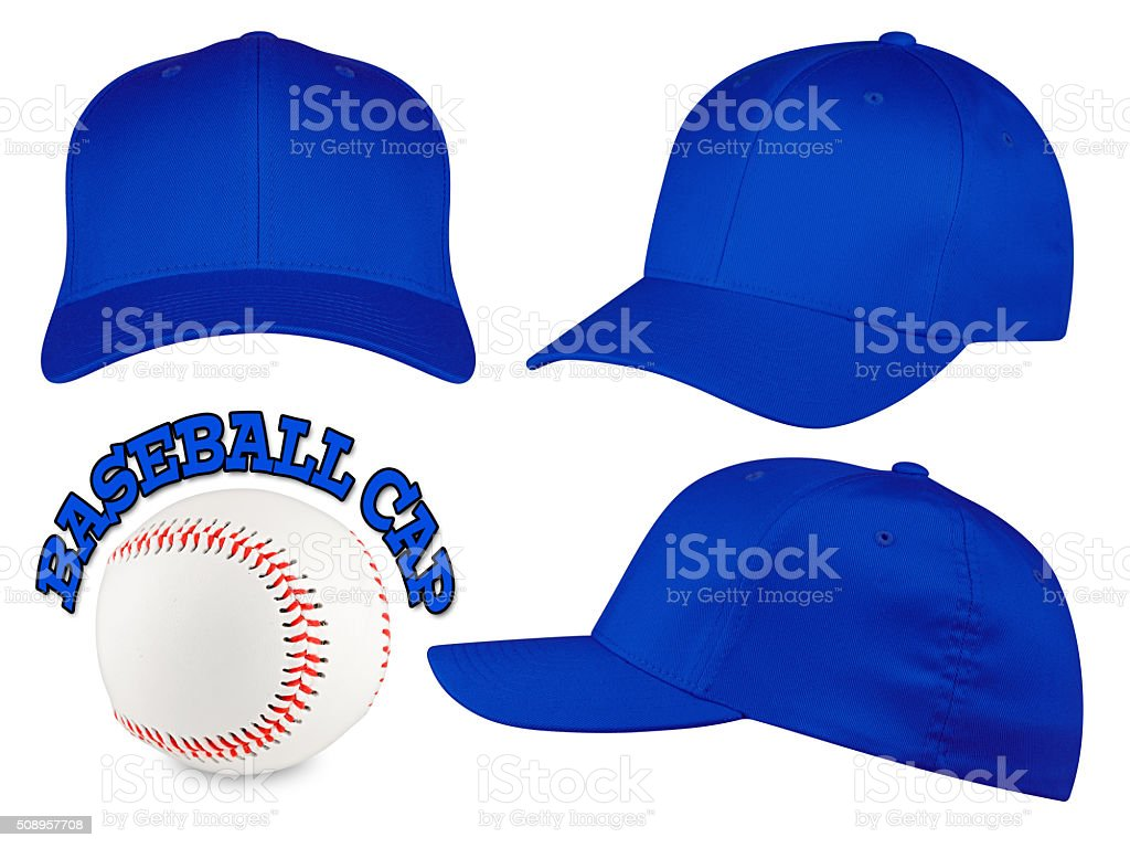 blue baseball cap set stock photo