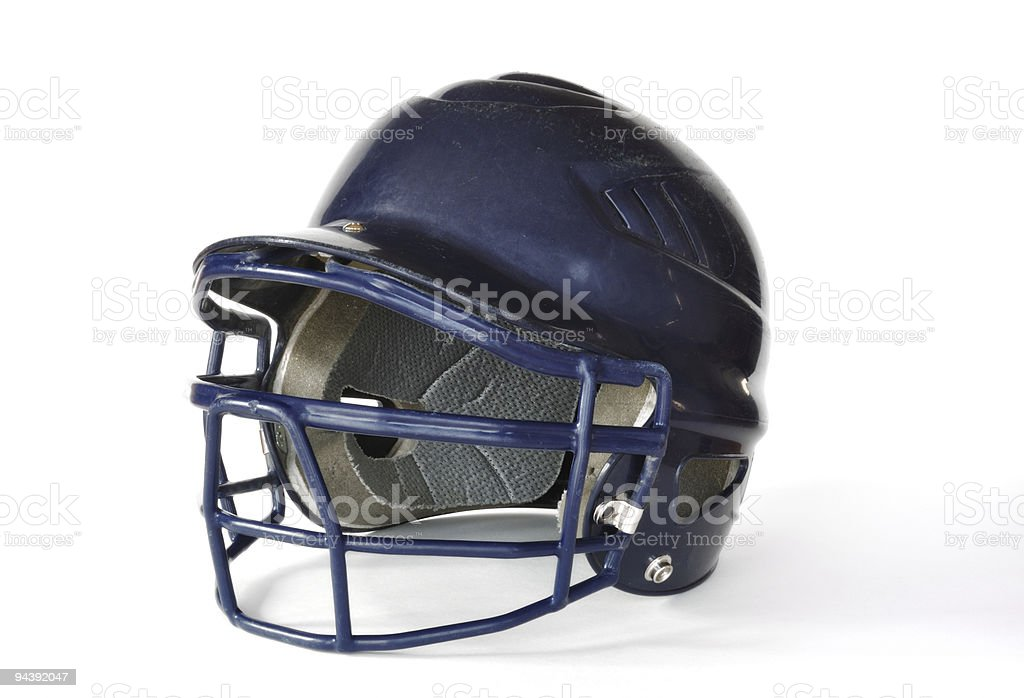 A blue baseball helmet on a white background stock photo