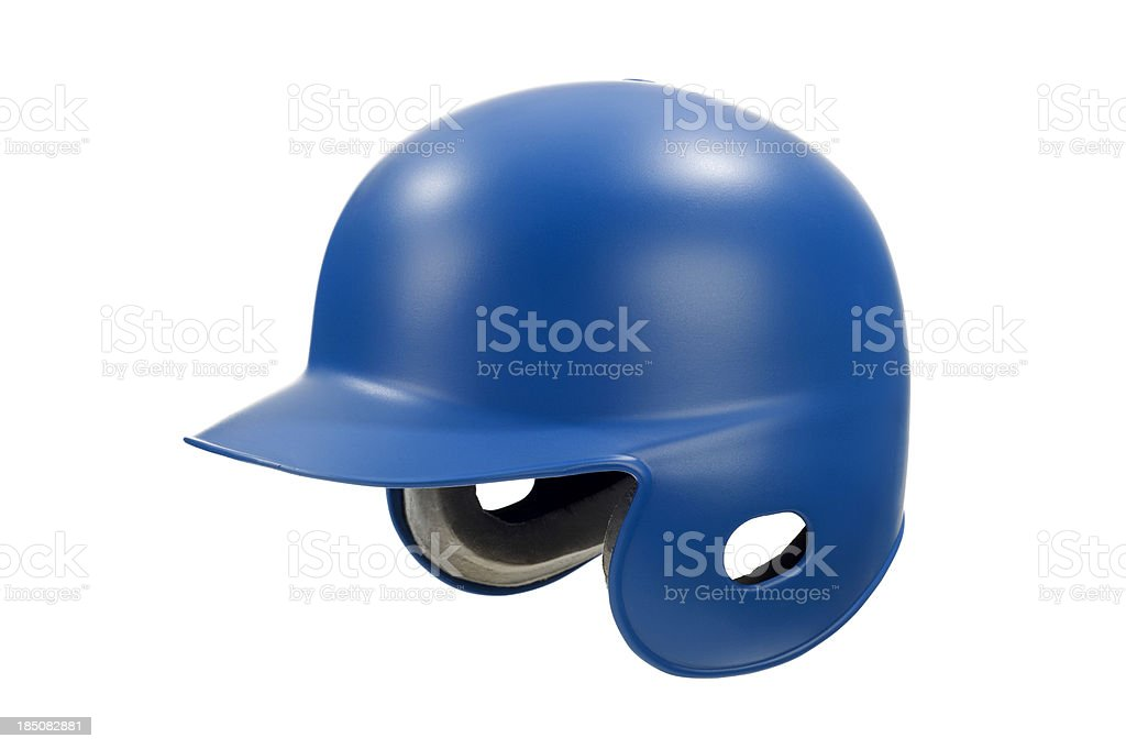 Blue Baseball / Softball Batting Helmet against white background stock photo