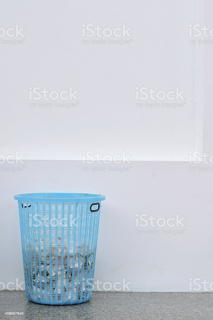 Blue basket in front of Thai church royalty-free stock photo