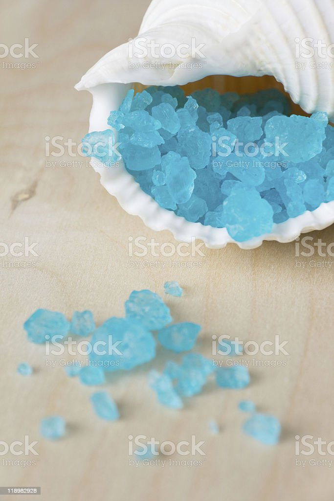 Blue Bath Salt in Shell royalty-free stock photo