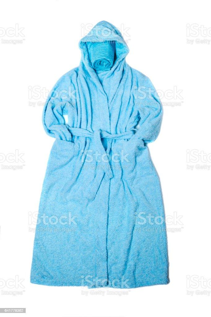Blue bathrobe stock photo