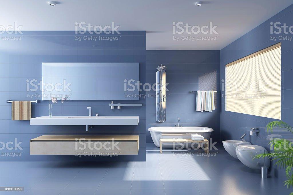 Blue bathroom with modern upgrades stock photo
