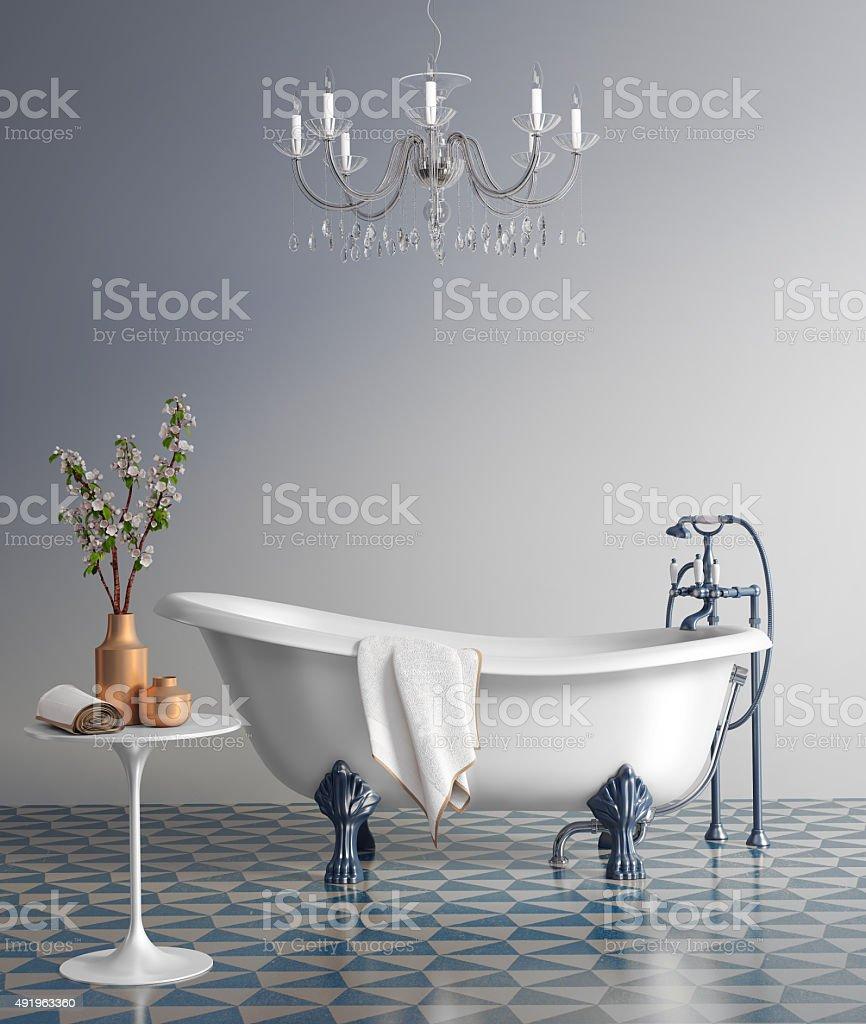 Blue bathroom with vintage bathtub stock photo