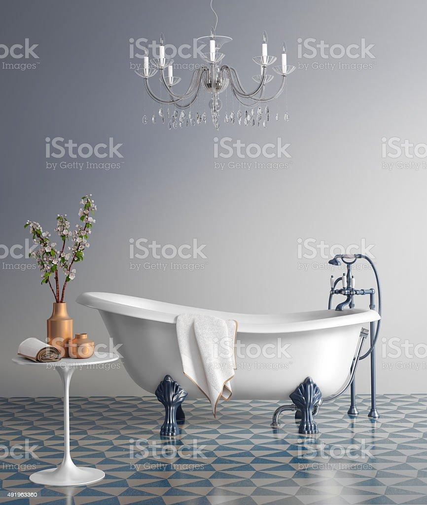 Blue bathroom with vintage bathtub stock photo