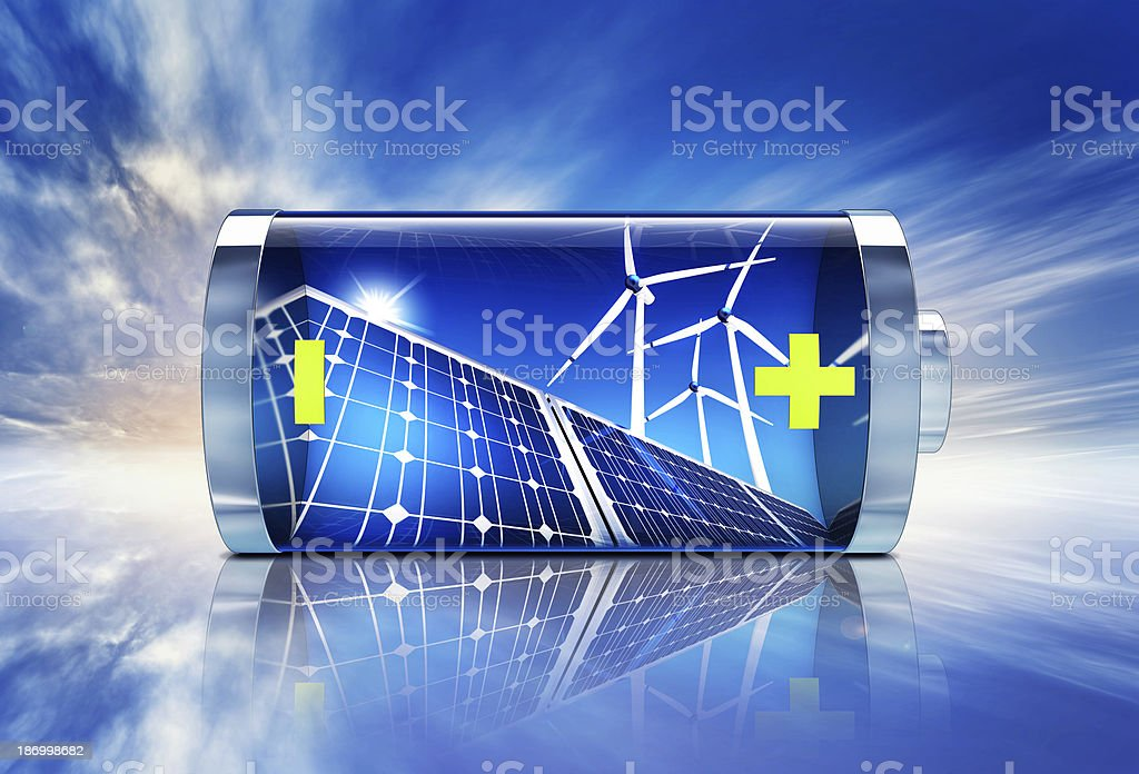 Blue battery featuring wind turbines and solar panels stock photo