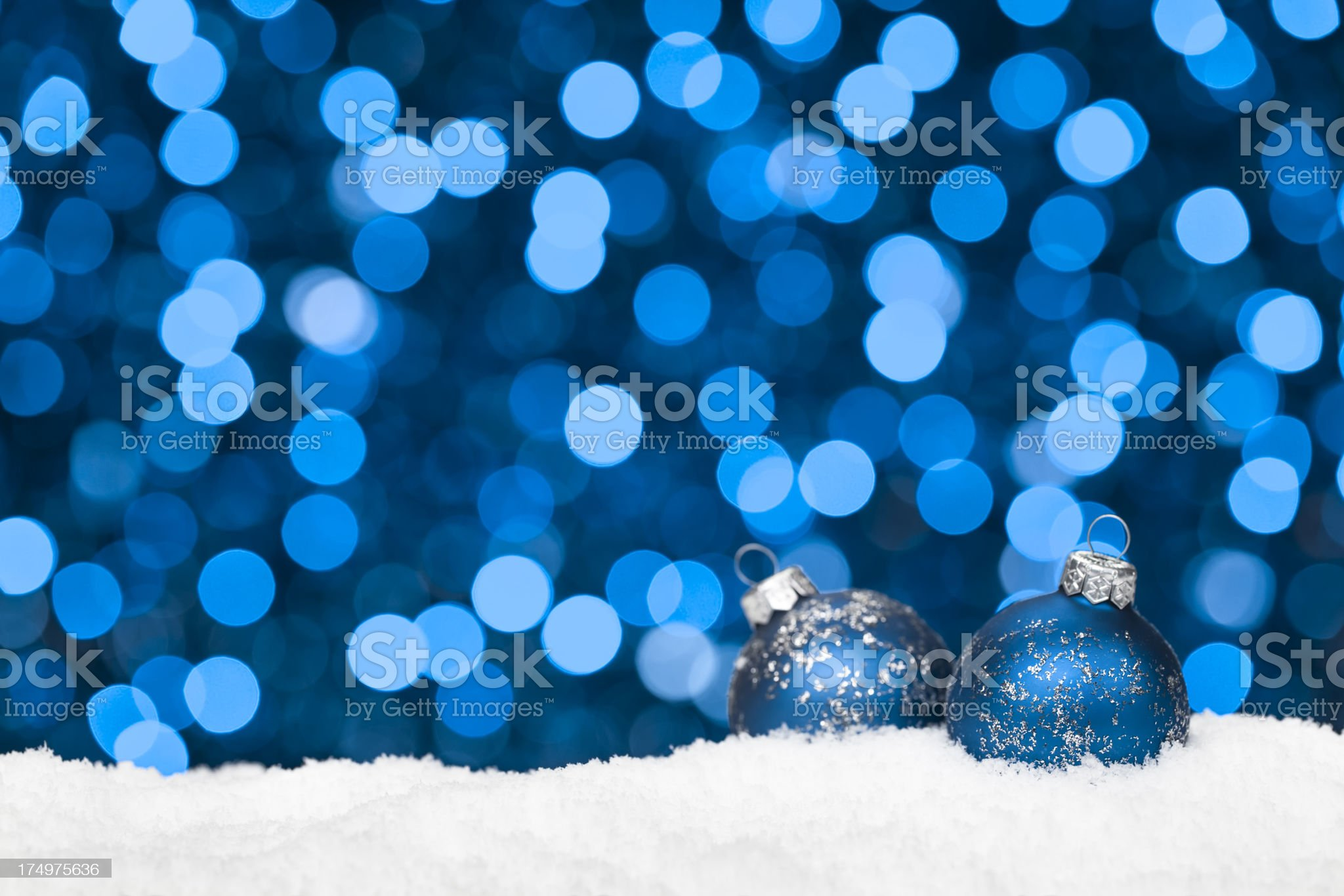 Blue Baubles on Snow royalty-free stock photo