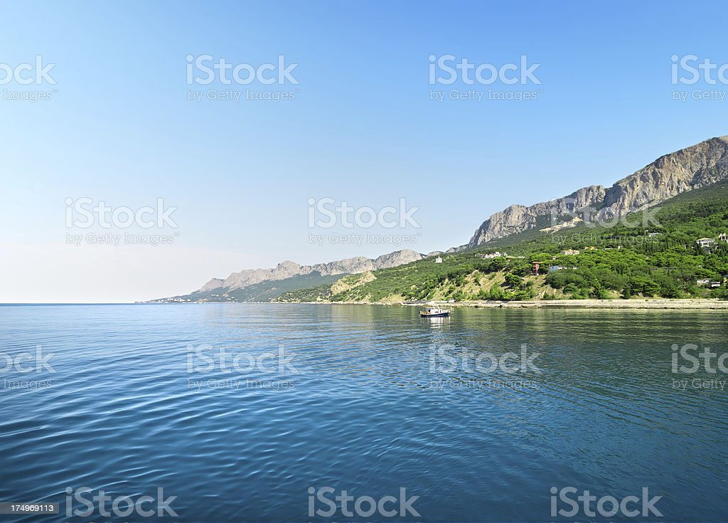 Blue bay in mountains royalty-free stock photo