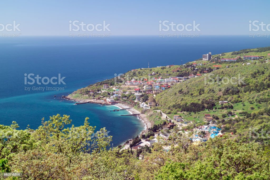 Blue bay of Crimea, view from the mountain-cat on Black sea resort stock photo