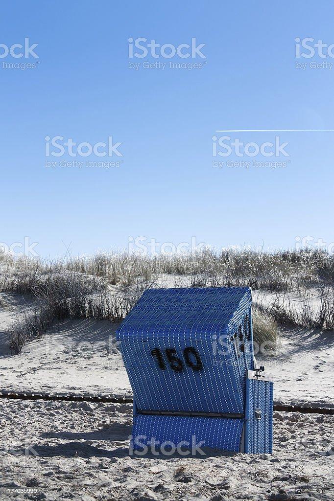 Blue beach chair stock photo
