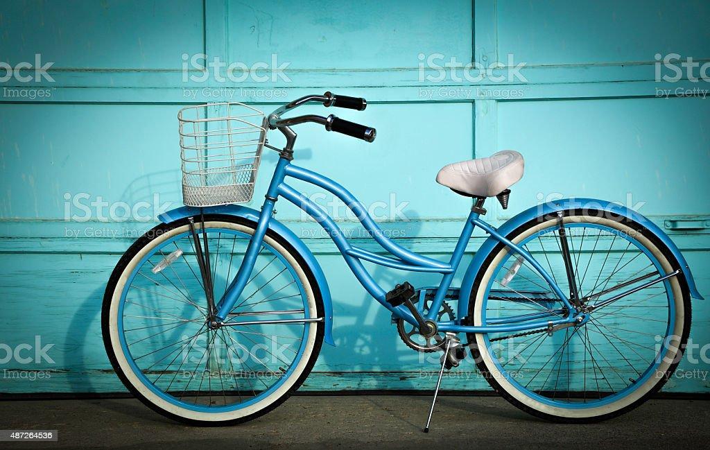 Blue Beach Cruiser Bike stock photo