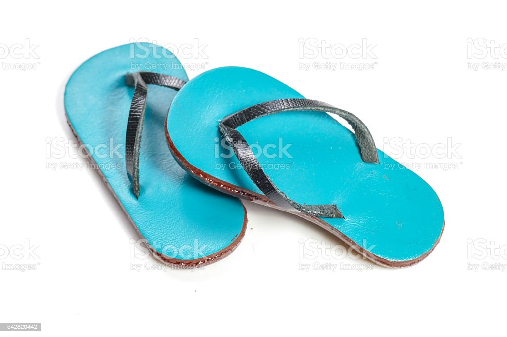 blue beach sandals flip flops isolated on white background stock photo