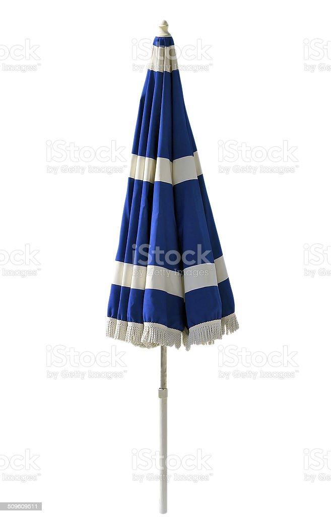 Blue beach umbrella isolated on white stock photo