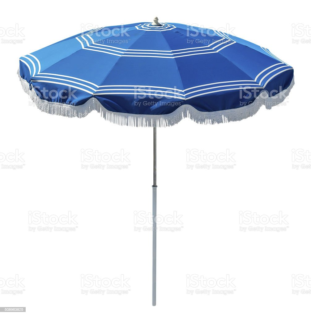 Blue beach umbrella stock photo