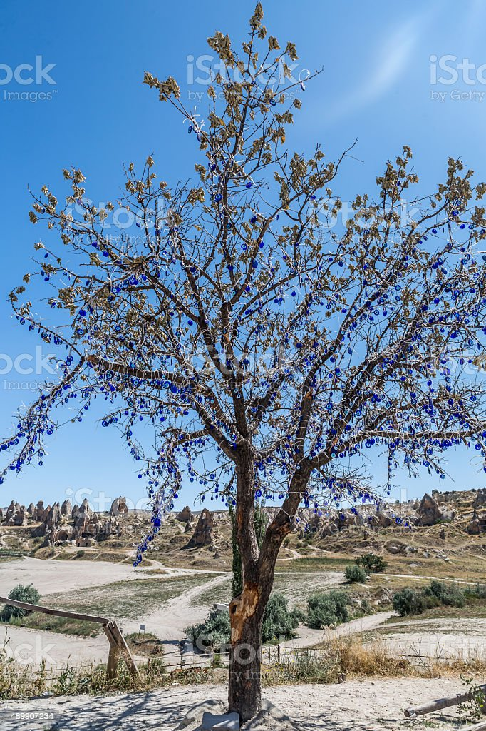 Blue bead wish tree stock photo